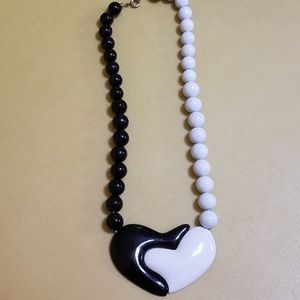 Jewelry - Heart Necklace in Black and White